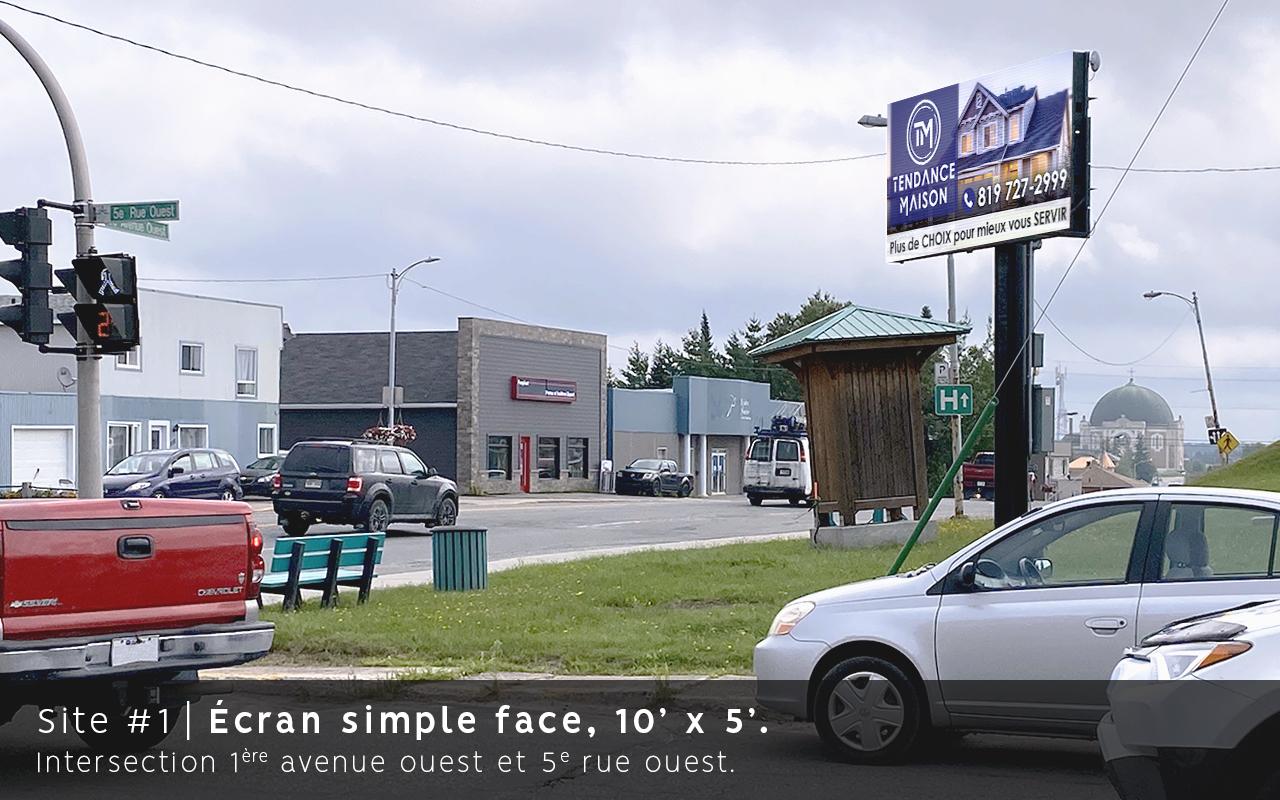Ecran simple face, 1er avenue, Amos