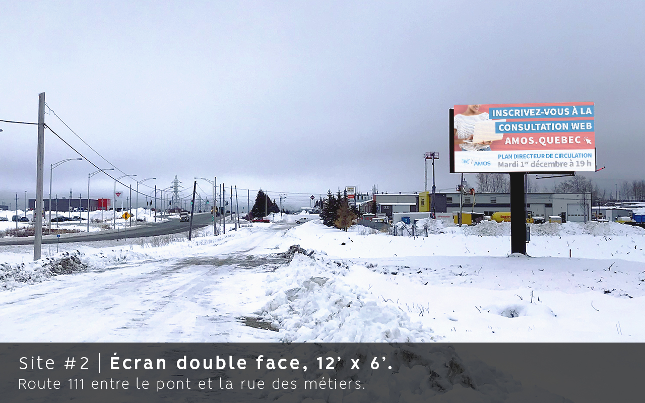 Ecran double face, Route 111, Amos