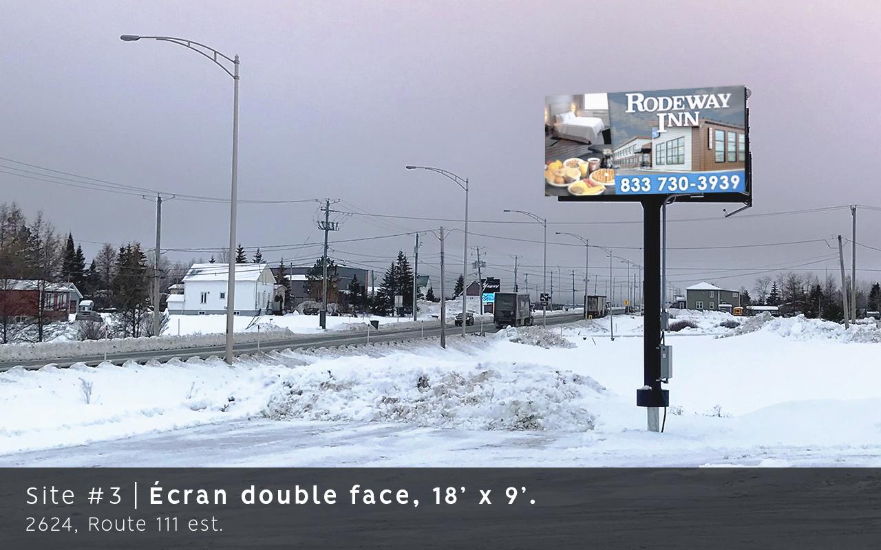Ecran double face, Route 111 est, Amos